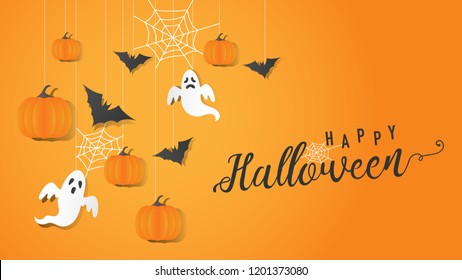 Illustration of halloween party, Graphic design for halloween festival, Background vector, eps10, Trick or treat