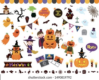 It is an illustration of a Halloween set.