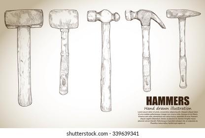 illustration of hammers set. Hand drawn. vintage style