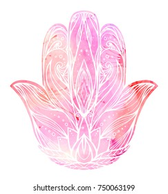 Illustration Hamsa with boho pattern and pink watercolor background. Hand of Buddha. Vector element for tattoos, cards, printing on T-shirts. Tracery hand drawn pattern