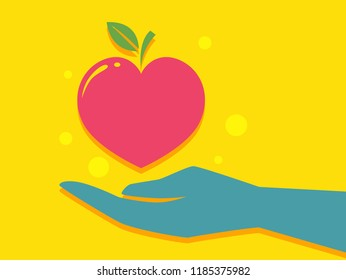 Illustration of a Hand with Apple Shape Like a Heart. Healthy Food Donation
