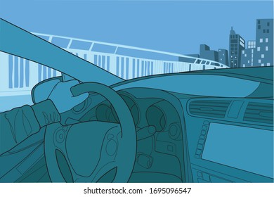 illustration of a hand behind the wheel of a car. Interior of a car with the city in the background.
