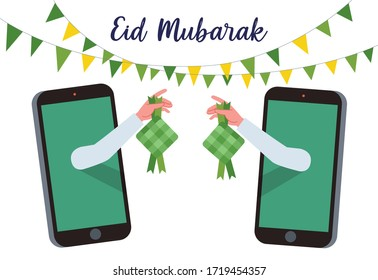 Illustration of a hand coming out through a cell phone and holding a Ketupat to celebrate Eid. Ketupat in Bahasa Indonesia is a rice packed inside a diamond-shaped container of woven palm leaf pouch.