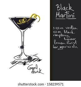 Illustration with hand drawn Black Martini cocktail
