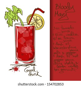 Illustration with hand drawn Bloody Mary cocktail