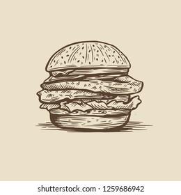 illustration of a hand drawn burger