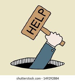 Illustration of hand drawn businessman holding help sign