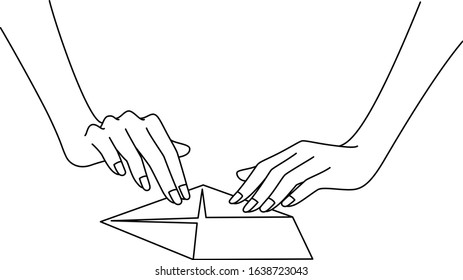 Illustration of a hand drawn by a beautiful Japanese woman folding origami, drawn in vector
