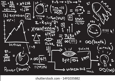 Illustration of hand drawn design sketch of rockets, robots, machines and engineering formula with black background.