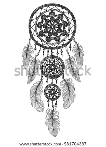 Illustration Hand Drawn Dream Catcher Feathers Stock Vector Royalty Adorable Drawn Dream Catchers