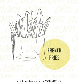 Illustration of hand drawn french fries potato. Sketched fast food in vector