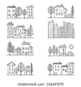 Illustration of hand drawn houses, small town