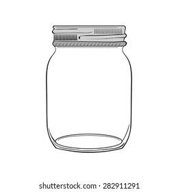 Illustration of hand drawn jar isolated on white background