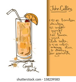 Illustration with hand drawn John Collins cocktail