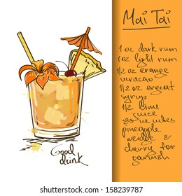 Illustration with hand drawn Mai Tai cocktail