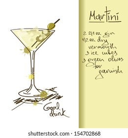 Illustration with hand drawn Martini cocktail