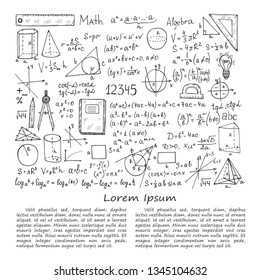Illustration with hand drawn mathematics formules and other elemets. Science collection. Vector.