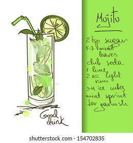 Illustration with hand drawn Mojito cocktail