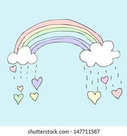 Illustration of hand drawn rainbow with falling heart