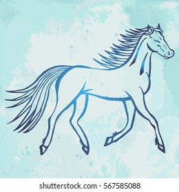 Illustration with hand drawn running wild horse on blue vintage paper. Tattoo design element. Heraldry and logo concept art.