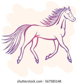 Illustration with hand drawn running wild horse on light pink background. Tattoo design element. Heraldry and logo concept art.