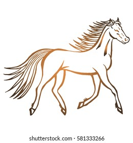 Illustration with hand drawn running wild horse. Tattoo design element. Heraldry and logo concept art. Drawing for coloring  book.