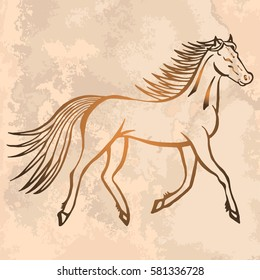 Illustration with hand drawn running wild horse on vintage paper. Tattoo design element. Heraldry and logo concept art.