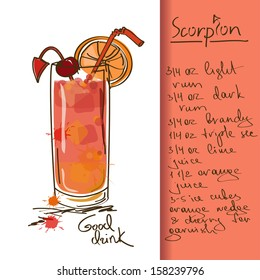 Illustration with hand drawn Scorpion cocktail