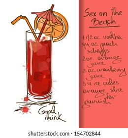 Illustration with hand drawn Sex on the Beach cocktail