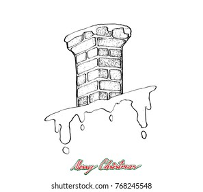 Illustration Hand Drawn Sketch of Chimney Pipe on The Roof Waiting for Santa Claus Coming to Home with Gifts, Sign for Start Christmas Celebration.