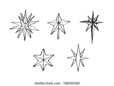 Illustration Hand Drawn Sketch Collection of Moravian Stars or Herrnhuter Sterns Illuminated Advent, Christmas or Epiphany Decoration. Isolated on White Background.