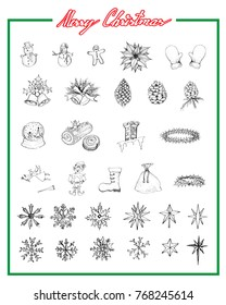 Illustration Hand Drawn Sketch Collection of Various Lovely Christmas Elements and Decorations Items, Sign For Xmas Celebration Event.