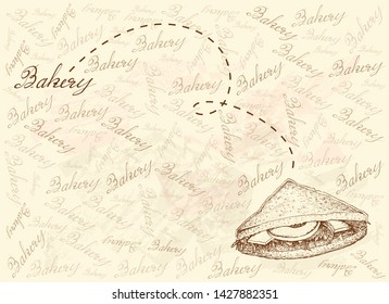 Illustration Hand Drawn Sketch of Delicious Homemade Freshly Club Sandwiches or Clubhouse Sandwiches on Brown Background.