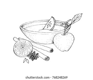 Illustration Hand Drawn Sketch of Wassail or Traditional Drink Made of Cider, Brandy, Apples and Spices for Christmas Season.