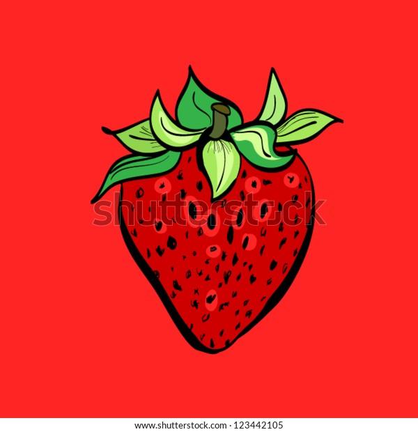 Illustration Hand Drawn Strawberry Cartoon On Stock Vector Royalty Free 123442105