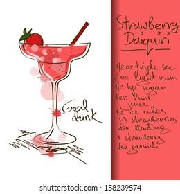 Illustration with hand drawn Strawberry Daiquiri cocktail