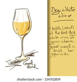 Illustration of hand drawn Wine cocktail