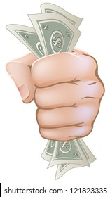 An illustration of a hand with a fist full of dollar notes