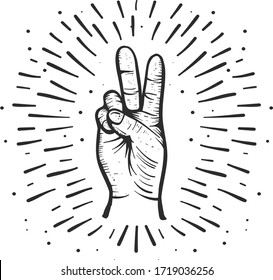 An illustration of a hand gesture sign for peace