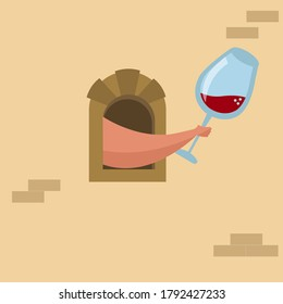 An illustration of a hand giving a glass of wine through a medieval wine window. Quarantine in Italy. Vector illustration.