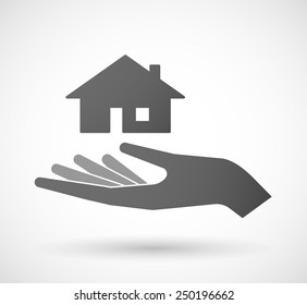 Illustration of a hand giving a house