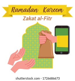 Illustration of a hand giving zakat al-Fitr through the mobile phone or through online. There's one hand gives a bag containing zakat, and there's the other hand that ready to accept it.