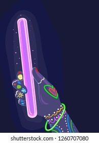 Illustration of a Hand with Glow in the Dark Paint Holding a Glow Stick for a Party