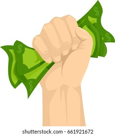 Illustration of a Hand Gripping Money Tight, Concept of Holding on Cash Tight