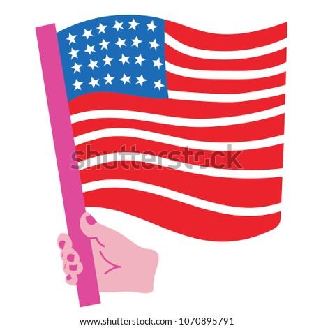 Illustration of a hand holding the American flag