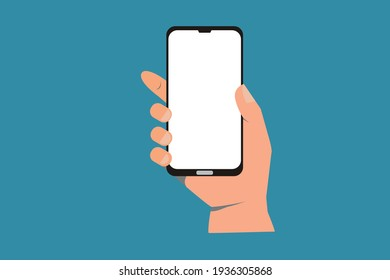 illustration of hand holding black smartphon with white screen