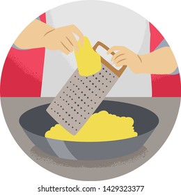 Illustration of a Hand Holding a Cheese Grater and Grating Cheese. Kitchen Verb Grate