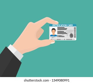 Illustration of hand holding the id card. Vector illustration flat design. The idea of personal identity. ID card, Identification card, identity verification, person data.
