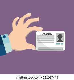 Illustration of hand holding the id card.