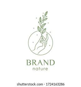 illustration of a hand holding a leaf for logo premium vector